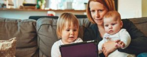 mother parenting her children during social isolation